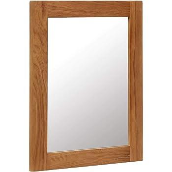 Festnight Specchio da Parete Rettangoalre in Legno Massello di Rovere,Specchio a Muro Rettangoalre in Legno