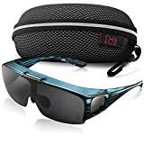 Br'Guras Fit Over Polarized UV Protection Sunglasses with Filp Up Lens Wear over Eyeglasses for Men and Women Driving, Hiking or Fishing (Blue striped, Black)