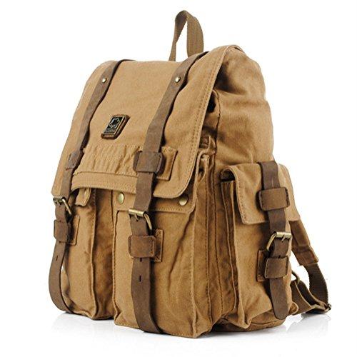 "DRF Zaino porta laptop 14"" Colore Cachi borsa per pc portatili in Tela e pelle SKU:BG-33"