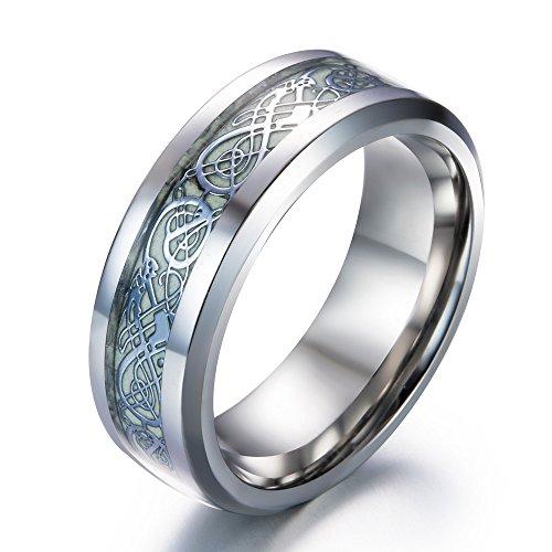 JAJAFOOK Men's 8mm Carbon Fiber Celtic Dragon Stainless Steel Luminous Silver Green Light Band Ring Glow in The Dark