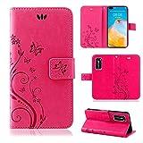 betterfon | Huawei P40 Hülle Flower Hülle Handytasche Schutzhülle Blumen Klapptasche Handyhülle Handy Schale für Huawei P40 Pink