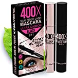400X Pure Silk Fiber Lash Mascara [Ultra Black Volume and Length], Longer & Thicker Eyelashes,...