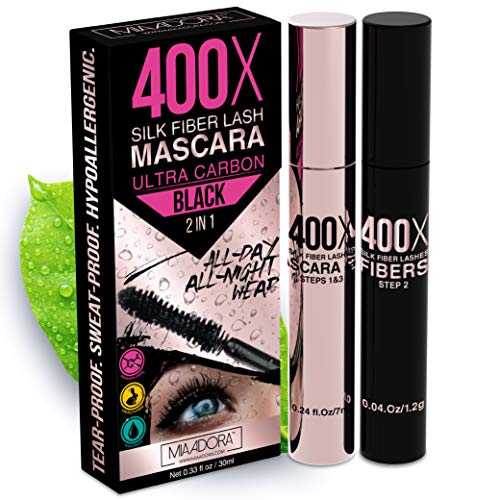 400X Pure Silk Fiber Lash Mascara [Ultra Black Volume and Length], Longer & Thicker Eyelashes, Waterproof, Long Lasting, Instant & Very Easy to Apply, Smudge-proof, Hypoallergenic, Cruelty & Paraben Free (Mia Adora)