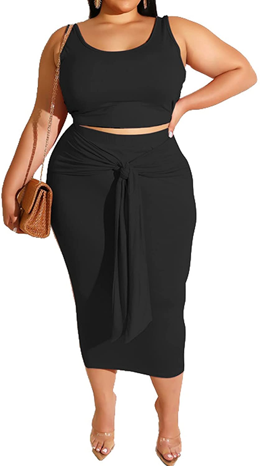 Plus Size Women 2 Piece Outfits Sets Fall Sexy Tracksuit Midi Dress,Sleeveless Tank Top Bodycon Skirts Set Casual