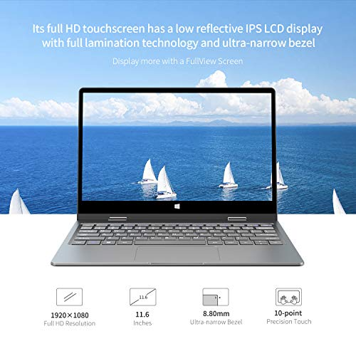 BMAX Y11 Laptop 2 in 1 Touchscreen Notebook 11.6 Zoll, Intel N4100 Quad-core,8GB RAM 256GB SSD, FHD 1080P Display …