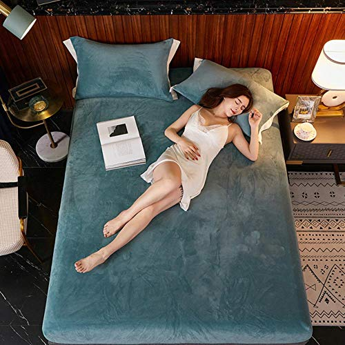 MMMWQ Einfarbiges Flanell-Bettlaken, Plüsch-Spannbetttuch, elastischer Samt, Bettwäsche, Matratzenbezug, Queen-Size-Betten-Set, Tagesdecke, Seegrün, 180 x 200 cm
