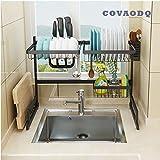 Dish Drying Rack Over Sink, Drainer Shelf for Kitchen Drying Rack Organizer Supplies Storage Counter Kitchen Space Saver Utensils Holder Stainless Steel (Sink Size≤24 1/2 Inch, Black)