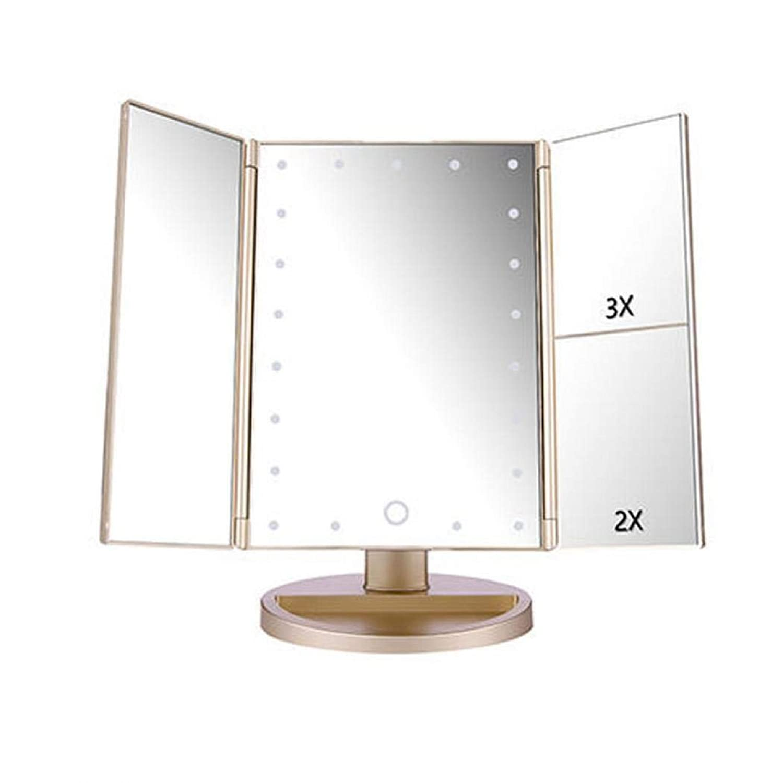 Bossip 化粧鏡 化粧ミラー 鏡 三面鏡 卓上 ledライト付き 折りたたみ 拡大鏡 曇らないミラー 明るさ調節可能 180°回転 2WAY給電 (シャンパン,22個LEDライト/10倍拡大鏡)