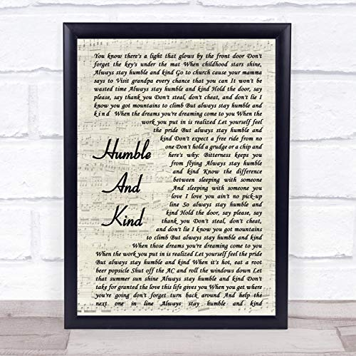 Humble and Kind Vintage Script Song Lyric Quote Print