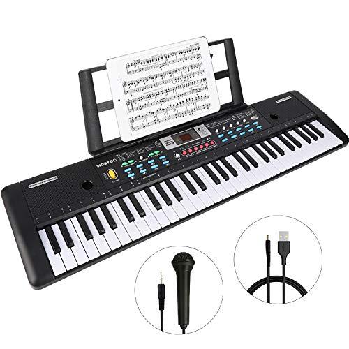 Teclado Electrónico Piano 61 Teclas, Teclado de Piano Portátil Con Atril, Micrófono, Fuente de Alimentación, Música Digital, Teclado de Piano Para Niños/Adultos