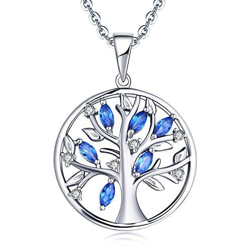 JO WISDOM Collar Colgante Arbol de la vida Plata de ley 925 azul zafiro sintético Piedra de nacimiento de septiembre AAA Circonita Mujer Joyería