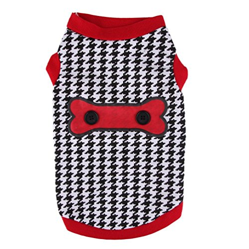 Smalllee_lucky_store - Camiseta sin mangas para perro o gato, diseño de pata de gallo, sin mangas, para cachorro, de algodón suave, ropa de chihuahua de verano, color negro y blanco