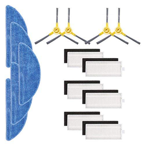 Tekehom - Kit di accessori di ricambio per aspirapolvere robot IKOHS netbot S15, confezione da 6 filtri + 4 spazzole laterali + 5 spazzolini