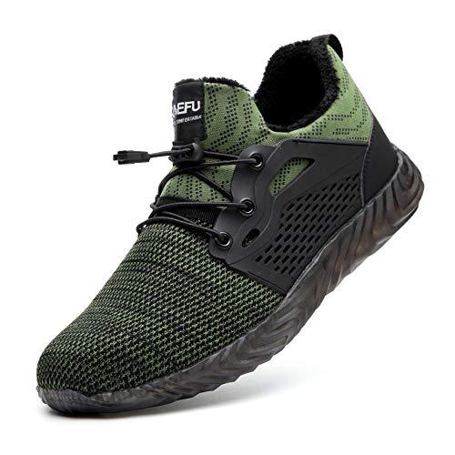 Zapatos de Seguridad para Hombres Mujeres Zapatos de Trabajo de Invierno Zapatillas de Deporte con Punta de Acero Zapatillas industriales Felpa Cálida Ligera Transpirable, 830W Green 39