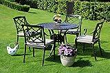 Hanseatisches Im- & Export Contor GmbH Made for us® Aluguss Gartenmöbel Set, Gartenmöbelgarnitur bestehend aus Gartentisch Ø 106 cm und (4 Gartenstühle)