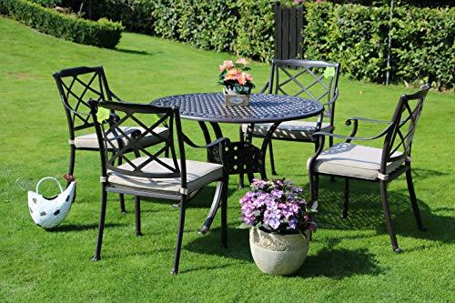 Hanseatisches Im- & Export Contor GmbH Aluguss Gartenmöbel Set, Gartenmöbelgarnitur bestehend aus Gartentisch Ø 106 cm und (4 Gartenstühle)