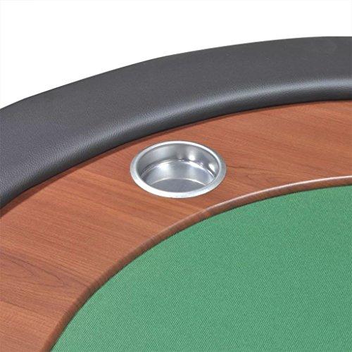 vidaXL Pokertisch für 10 Spieler mit Dealerbereich und Chipablage Grün - 8