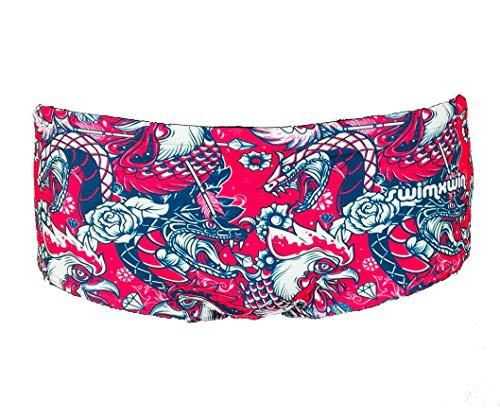SWIMXWIN Slip Parigamba Costume da Piscina Mare Sole Nuoto Allenamento Modello Trunk Old School Design Italiano (Small)