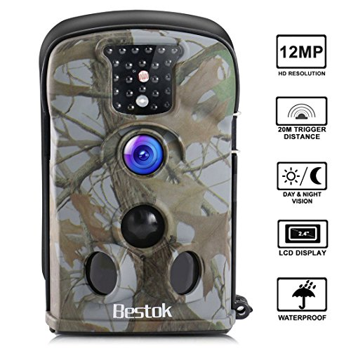 Bestok Cámara de Caza 12MP HD Cámara de Vigilancia Impermeable Invisible Visión Nocturna Hasta 20M IR LEDs Trail Cámara (5210A)
