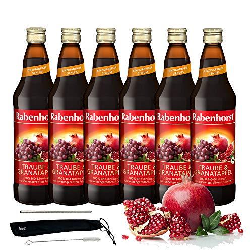 Rabenhorst Saft Traube & Granatapfel 6x 700ml Vegan Bio Trauben-Granatapfelsaft - 100% Direktsaft höchster Fruchtgenuss PLUS fooodz-Trinkhalm Set mit Reinigungsbürste
