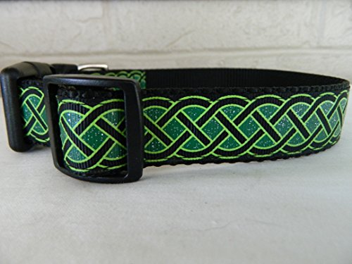 Schmoopsie Couture St Patrick's Day Black and Emerald Celtic Knots Dog Collar (Large (15'-24'))