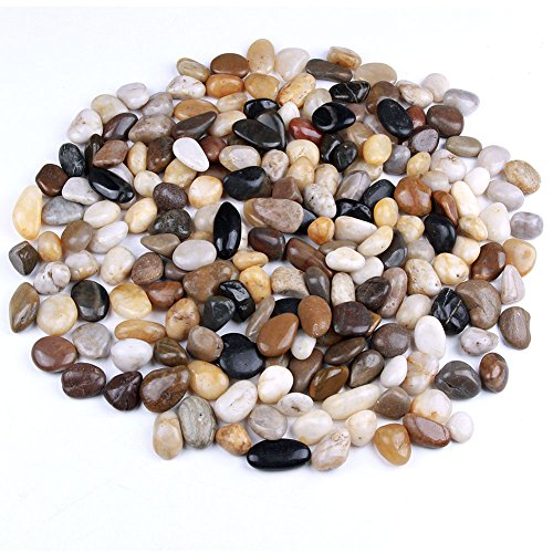 5 Pounds River Rocks, Pebbles, Natural Polished Mixed Color Stones