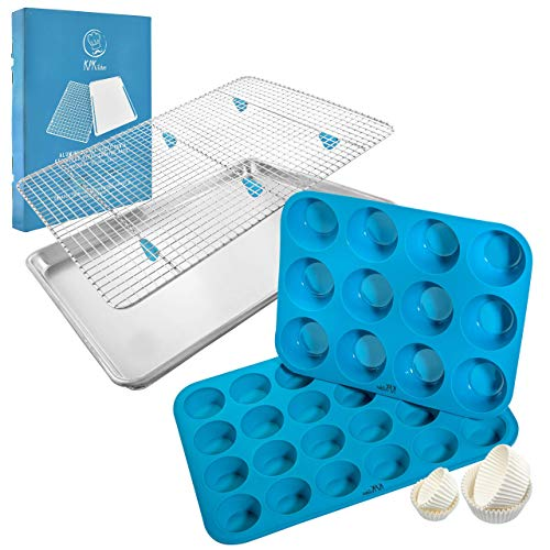 "KPKitchen Baking Sheet & Rack Set and Silicone Muffin Pans Set - Aluminum Pan (18"" x 13"") + Stainless Cooling Rack (16.8"" x 11.8"") - 12 & 24 Mini Cupcake Pan Sizes - 100% Food Safe & BPA-free"