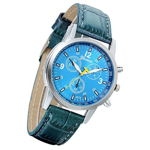 Lancardo Reloj Analógico Comercial Movimiento de Cuarzo Decorado con 3 Sub-Diales Pulsera Electrónica Correa de Cuero Impermeable de 10m Casual para Hombre (Azul)