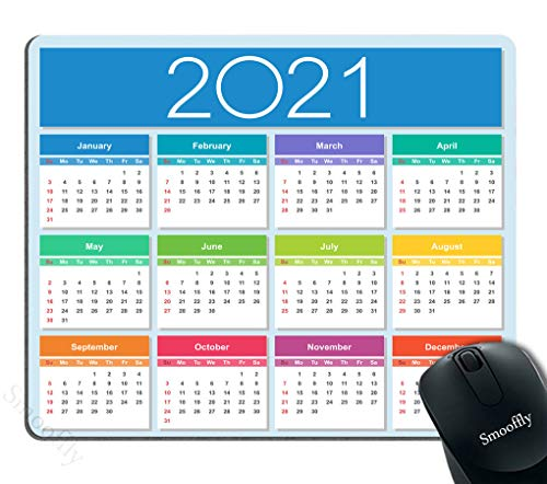 Smooffly Calendar for 2021 Mouse Pad Gaming Mouse Pad Mousepad Nonslip Rubber Backing