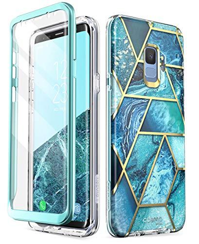 i-Blason Hülle Kompatibel für Samsung Galaxy S9 Glitzer 360 Grad Handyhülle Bumper Case Glänzend Schutzhülle Full Cover [Cosmo] mit integriertem Displayschutz (Blau)