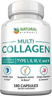 Multi Collagen Protein Capsules - 180 Collagen Capsules - Type I, II, III, V, X Collagen Pills - Proprietary Blend of Eggshell, Chicken, Wild Fish & Grass-Fed Beef Collagen Peptides - 2025mg per serv