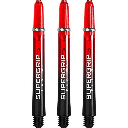 Harrows Supergrip Fusion, Dartpfeil-Schäfte, Schwarz und Rot,Größe M, 5 Sets mit insgesamt 15 Stück, mit Kugelschreiber von Darts Corner