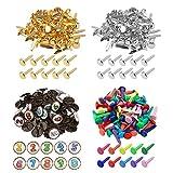 200 sujetadores de papel de colores para hacer tarjetas, redondos, chapados en latón, multicolor
