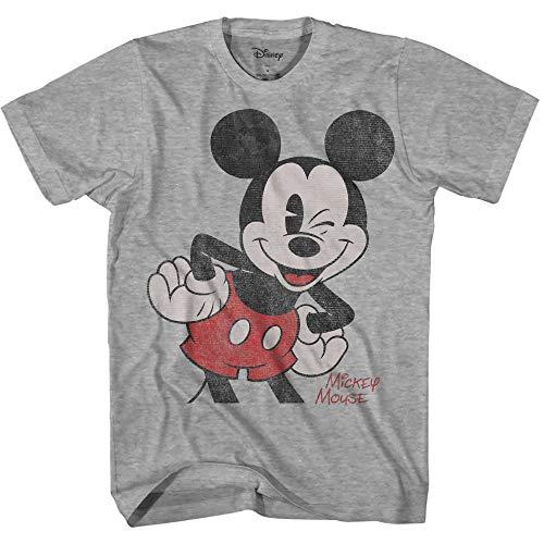 Oversized Image Mickey Mouse Adult Men's Classic Vintage Disneyland World Graphic T-Shirt (Heather Grey, X-Large)