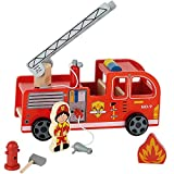 Product Image of the Toy Chest Nyc Wooden Fire Truck with Firefighter Play Figure and Accessories,...