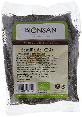 Bionsan Semillas de Chía Ecológicas - 4 Bolsas de 200 g - Total: 800 g