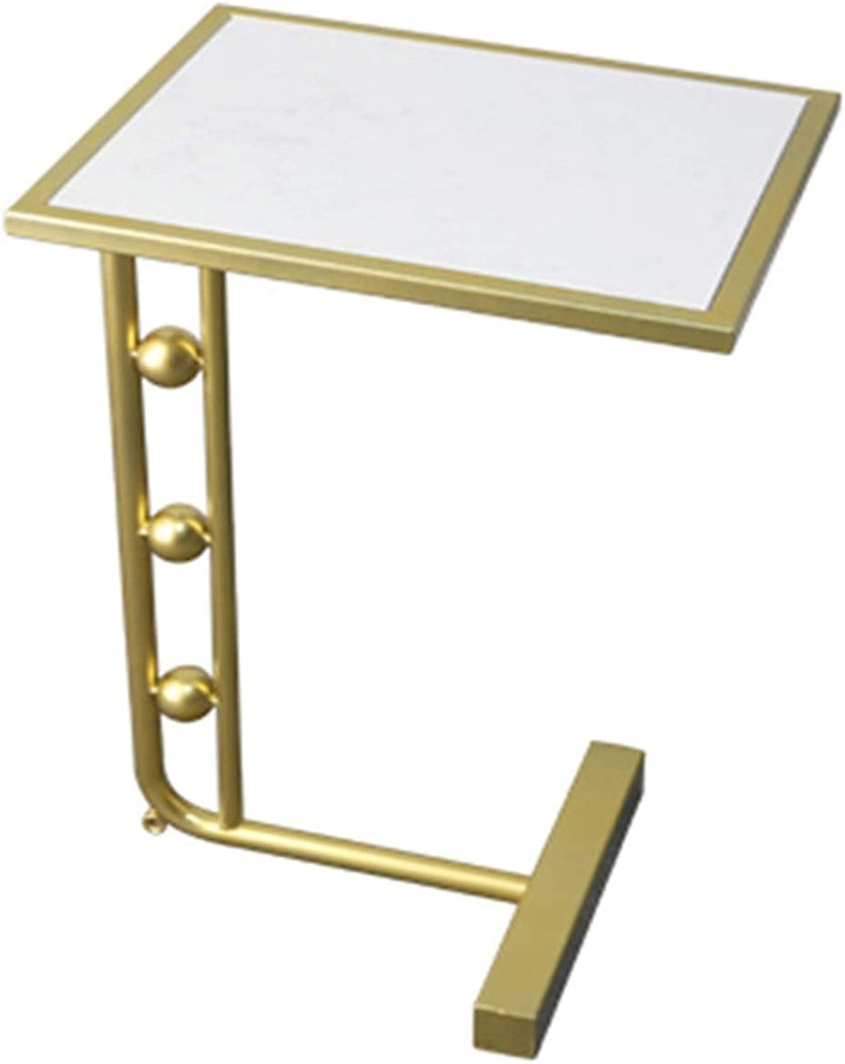 Wrought Iron Side Table Marble Coffee Table, Simple Modern Living Room Sofa Corner A Few Corner Small Coffee Table, Square, gold (38 × 30 × 60cm)