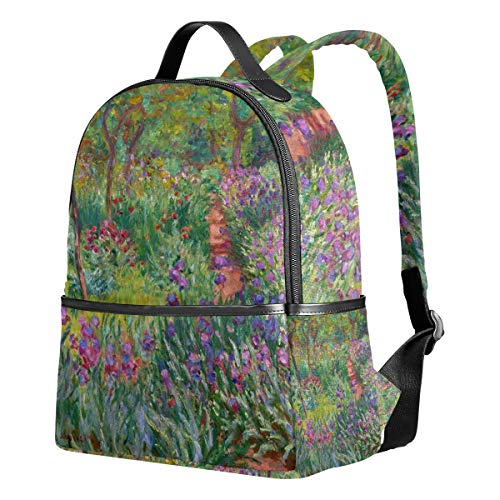 Ahomy Mochila para Niñas, Iris Jardín en Giverny Monet Art Mochila Escuela Libro Bolsas Casual Daypacks para Viajes y Deportes