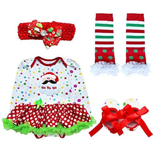 ranrann Vestido Tutú de Santa para Bebé Niña Mameluco de Navideño Princesa 4Pcs Disfraz de Papá Noel Mamá Noel Ropa Christmas Fiesta 0-9 Meses Tipo B 3-6 Meses
