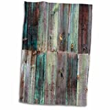 3D Rose Photograph of Turquoise and Brown Distressed Wood TWL_213532_1 Towel, 15' x 22'