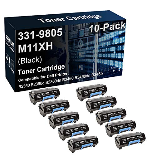 10-Pack Compatible B2360dn B3460dn B3465dn Printer Toner Cartridge Replacement for Dell 331-9805 M11XH C3NTP Toner Cartridge (Black, High Capacity)