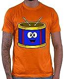 Hariz - Camiseta para hombre, diseño de tambor con texto 'Trommel Lachend Instrumente' naranja S