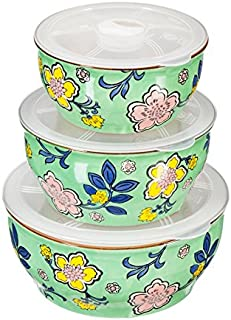 Cypress Home Paisley Floral Stoneware Storage Containers with Lids, Set of 3