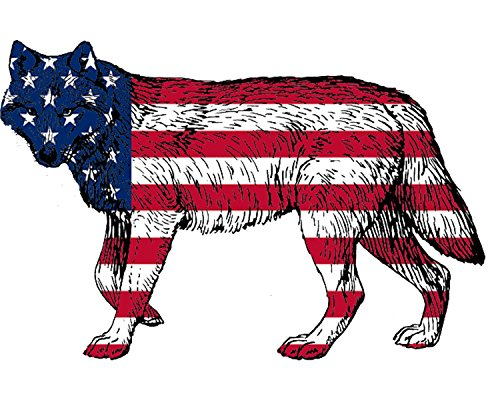 Rogue River Tactical Wolf Decal Sticker Silhouette American Flag USA Large 4x4 Inch Patriotic Decal Auto Bumper Sticker Vinyl Car Truck RV SUV Boat Window,Red