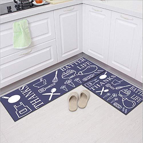 Alfombra con 2 piezas de alfombrilla de cocina antideslizante en la parte posterior (40 x 120 cm + 40 x 60 cm) utensilios de cocina de diseño lavable (cocina negra)