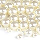 Naler 500 x Glasperlen Weiß Kunstperle Runde Perlen für Schmuck Basteln(∅4, 6, 8, 10 mm)