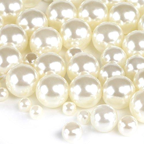 Naler 500 perlas artísticas, tamaños surtidos, 4/6/8/10 mm, cuentas de perlas para manualidades, decoración, bisutería y bricolaje