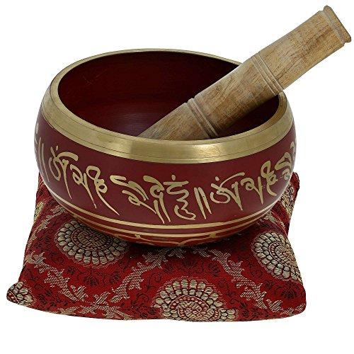 Ajuny Impresionante cuenco tibetano budista rojo viene en palo y cojín, ideal para meditaciones y sanación sonora de 5 pulgadas