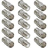 Greluma 15 Piezas Conector de empuje macho a hembra tipo F, adaptador de conexión rápida F para TV, antena, cable coaxial, receptor de satélite RV