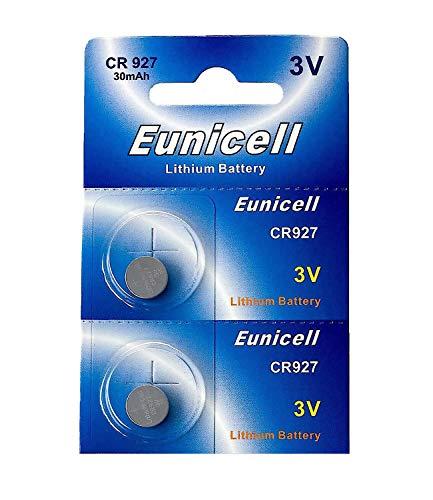 Eunicell 2 x CR927 3V Lithium Knopfzelle 30 mAh (1 Blistercard a 2 Batterien) EINWEG Markenware